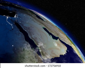 Early morning on Arabian peninsula viewed from space. Highly detailed planet surface with clouds and city lights. Elements of this image furnished by NASA.