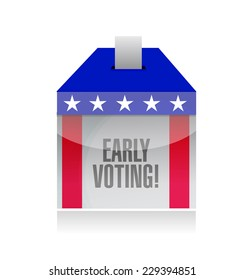 early voting ballot box illustration design over a white background