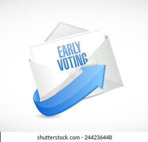 early voting envelope mail illustration design over a white background