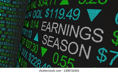 Earnings Season Company Reports Stock Market Ticker Words 3d Illustration