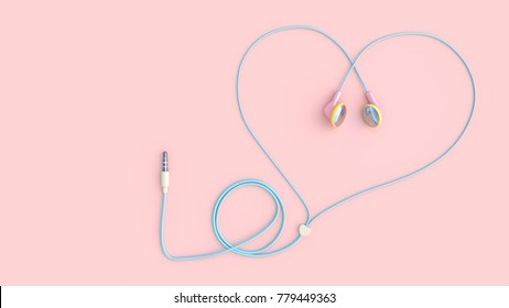 earphones pink color heart shape on pastel pink background, love concept. 3d render.