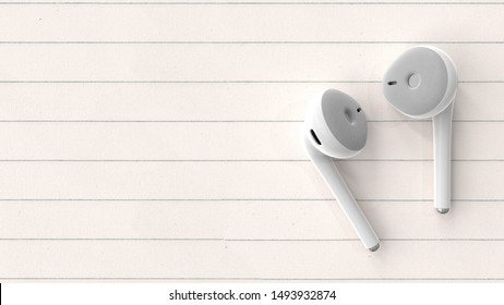 earphones white color on paper background. 3d render.