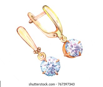 earrings  luxury decoration Watercolor  illustration isolated on white background