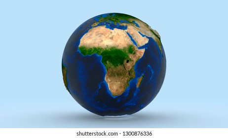 Earth with Africa continent in focus on light blue background big high resolution 3d illustration