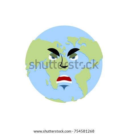 Royalty Free Stock Illustration Of Earth Angry Emoji Planet