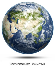 Earth - Asia white isolated. Elements of this image furnished by NASA. 3d rendering