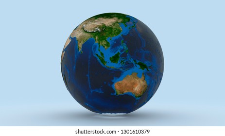 Earth with Australasia Australia China in focus on light blue background 3d illustration