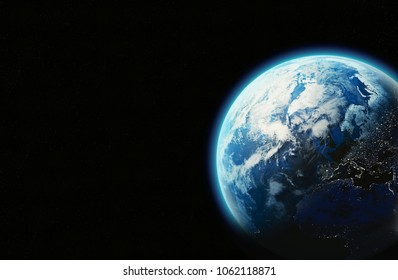 Earth background in space with chromosphere and lights at night, 3D render - Elements furnished by Nasa