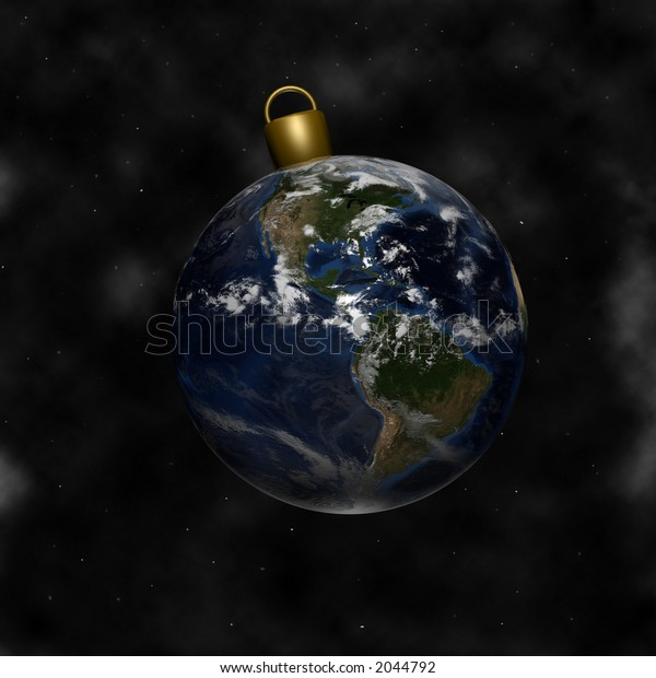 Earth as a Christmas Ornament. North, Central, and South America