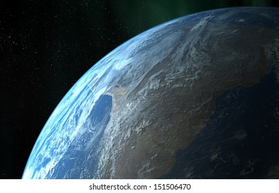 Earth close up view