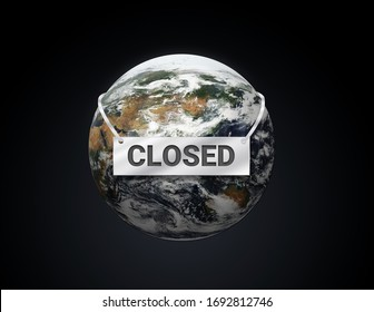 The Earth is closed, messages 3d Illustration, save planet concept, Protect the Globe is sick,  business company around the world are closed knockdown during an outbreak of the COVID-19 virus.