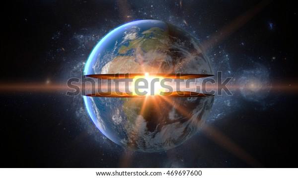 Núcleo de la Tierra. estructura interna con capas geológicas. Representación 3d.
