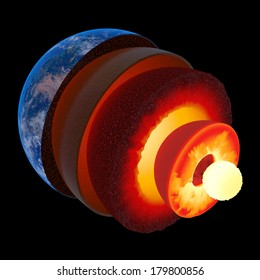 Earth core structure illustrated with geological layers according to scale - isolated on black (Elements of this 3d image furnished by NASA -  source maps from http://visibleearth.nasa.gov/)