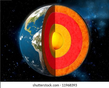 Earth cross section showing its internal structure. Digital illustration.