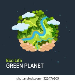 Earth day concept. Human hands holding floating globe in space. Save our planet. Flat style isolated illustration.