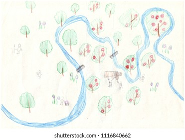 Earth day design in children drawing style - Drawing by colored pencils  in kids style of the Eath from bird`s eye view
