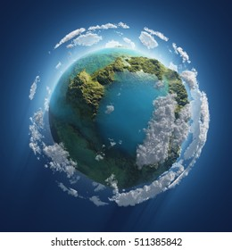 Earth Day, small planet in the space, 3d illustration