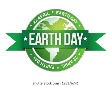 earth day written inside the stamp illustration design