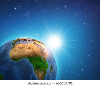 Earth in deep space, focused on African continent, sunrise shining on the horizon. Elements of this image furnished by NASA - 3D illustration.