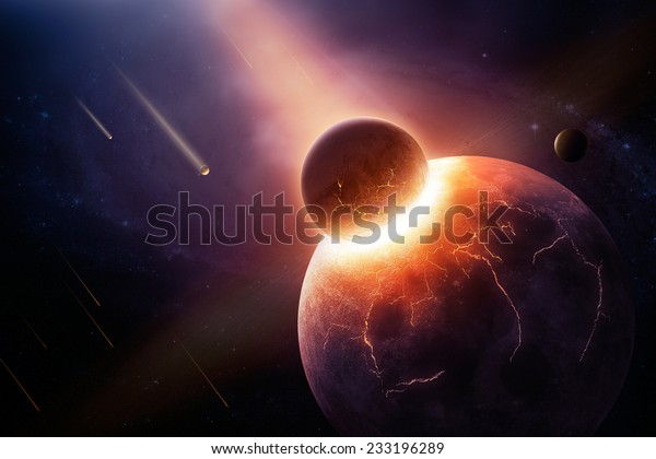 Earth destroyed in collision - 3D artwork illustration of planetary collision