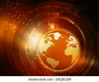 Earth with digital fiber, global internet concept