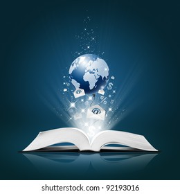Earth and  Envelope E-Mail, Business collection on open book