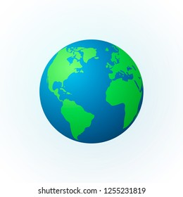 Earth in the form of a globe. Earth Planet icon. Detailed colored world map. illustration isolated on white background