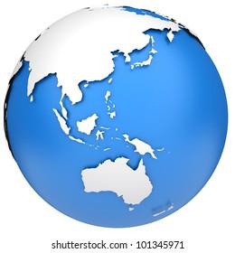Earth globe 3d model. Side of Asia, Australia and Indonesia