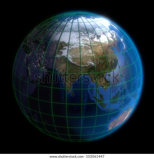 Map Of Asia Latitude And Longitude.Earth Globe Asia Latitude Longitude 3d Stock Illustration 102061447