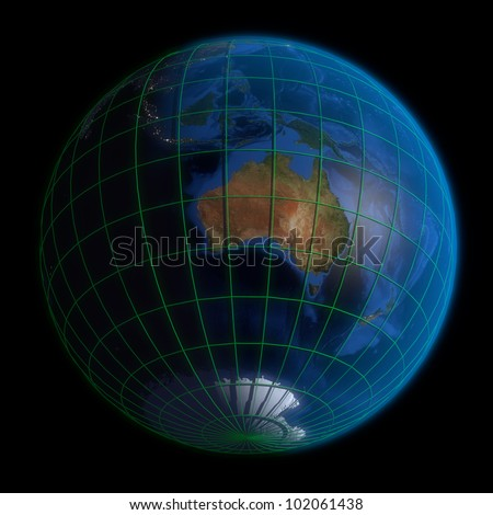 Earth Globe Australia Latitude Longitude 3 D Stock Illustration ...