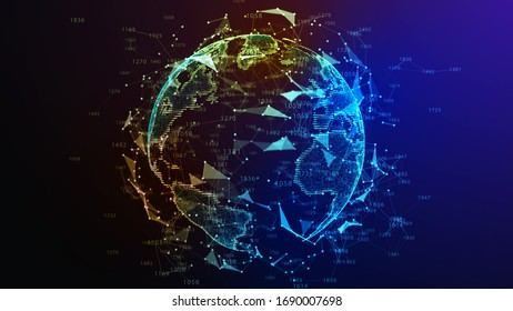 Earth Globe. Background with Light Effect. Global International Connectivity Background. 3D illustration.