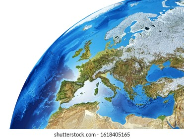 Earth globe close- up of the Europe area. Very detailed and Photo realistic. 3D illustration. (Original maps provided by NASA.)