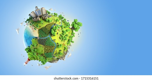 earth globe concept showing a green, peaceful and idyllic life style in the world in a cartoon fantasy style. landscape 3d render.