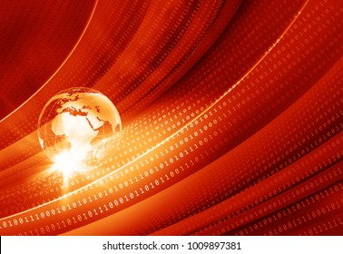 Earth globe with digital binary codes graphical red theme background, news technlogies concept.
