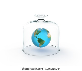 Earth Globe Floating Under Glass Plate Cover, on White Background. 3D Render