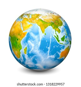 Earth globe focused on Indian Ocean. Realistic topographical lands and oceans with bathymetry. 3D object isolated on white background. Elements of this image furnished by NASA.
