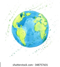 Earth globe, hand drawn watercolor illustration