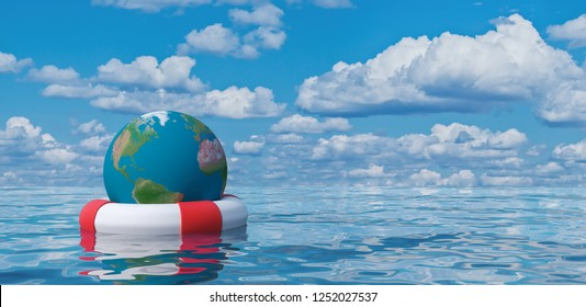 Earth globe in lifebuoy, save the world concept 3d illustration 3d render