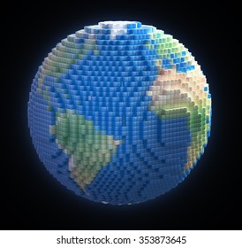 Earth globe made out of voxel 3d cubes