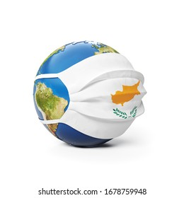 Earth Globe in a medical mask with flag of Cypr Cyprus Cypriot isolated on white background. Global epidemic of Chinese coronavirus concept. 3D Rendering, Illustration.