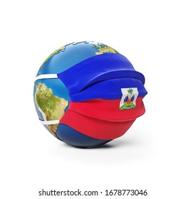 Earth Globe in a medical mask with flag of Haiti Haitian isolated on white background. Global epidemic of Chinese coronavirus concept. 3D Rendering, Illustration.