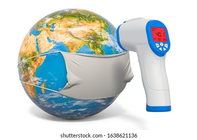 Earth Globe in a medical mask with and Infrared Electronic Thermometer. Pandemia concept, 3D rendering isolated on white background. Elements of this image furnished by NASA