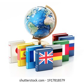 Earth globe model and dictionaries with various flags isolated on white background. 3D illustration.