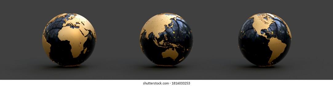 earth globe on dark background 3D rendering