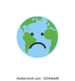 Earth globe sad Isolated on white background. Flat planet Earth icon.  illustration.