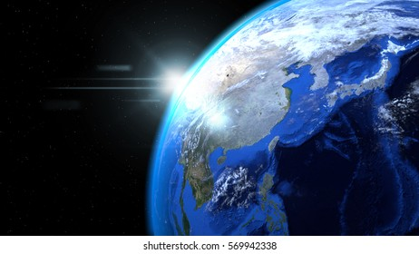 Earth globe from space with sun and clouds, close up, showing Asia, Elements of this image furnished by NASA, 3d illustration