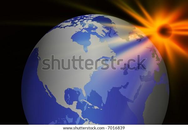 Earth globe and the sun
