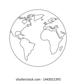Earth globe template. World map. Line style icon of earth planet. Clean and modern illustration for design, web.