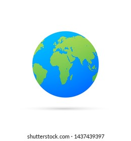 Earth globes isolated on white background. Flat planet Earth icon. stock illustration.