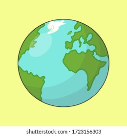 Earth globes isolated on yellow background. Flat planet Earth icon.